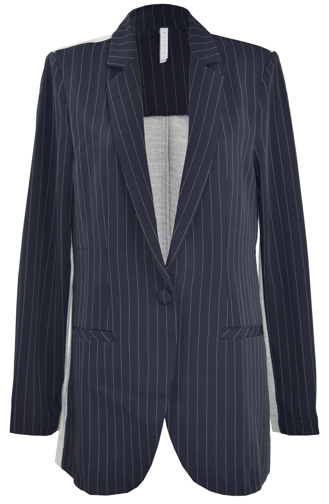Striped blazer-cotton back