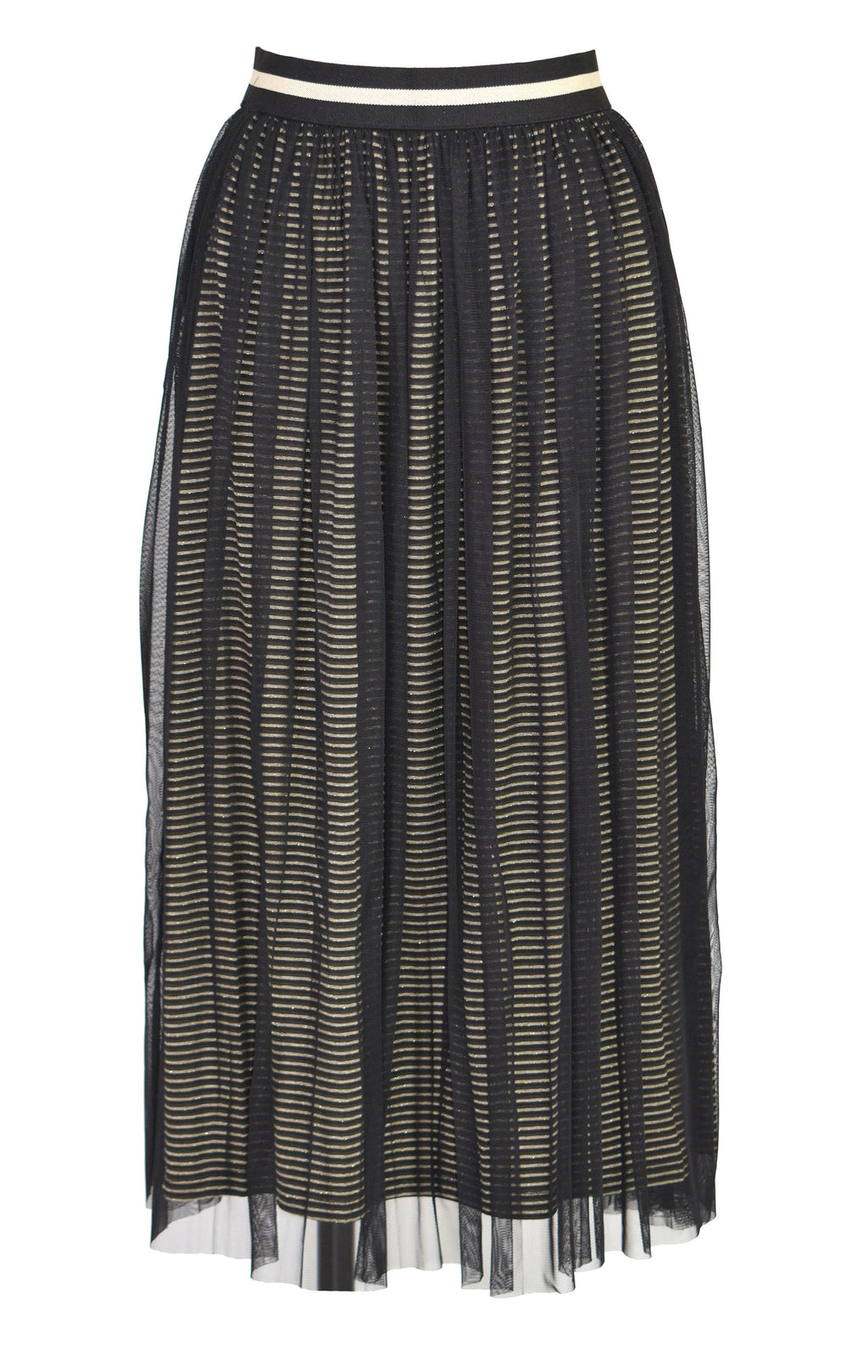 Metal stripes lace midi dress
