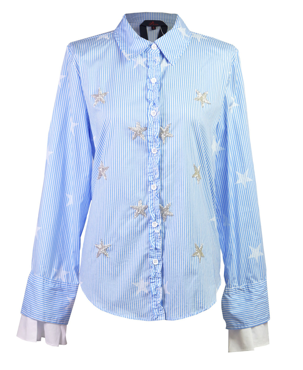 Star-embroidery striped shirt