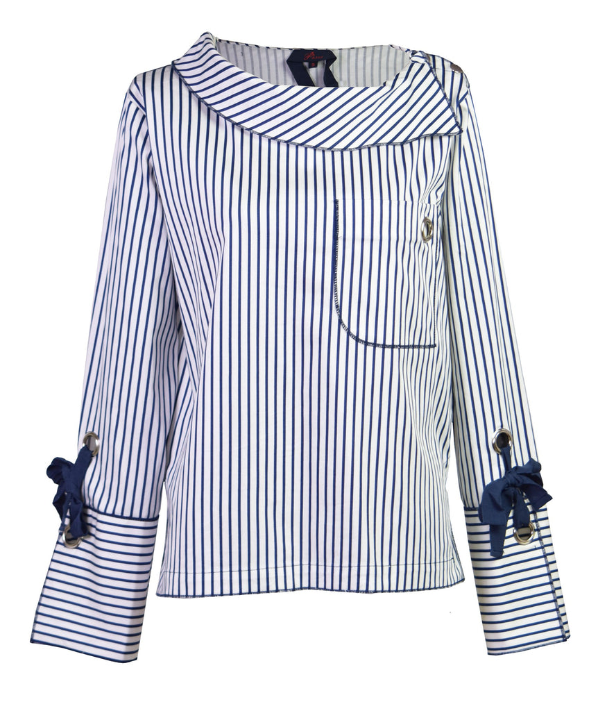 Stripe asymmetric cotton-poplin top