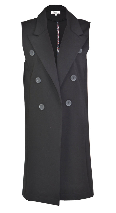 Black sleeveless classic suit jacket