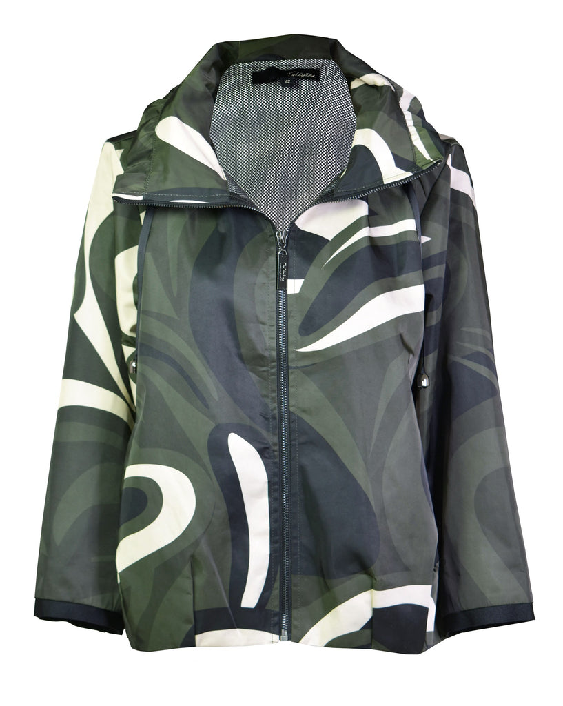 Camouflage cropped shell hooded windbreaker-jacket