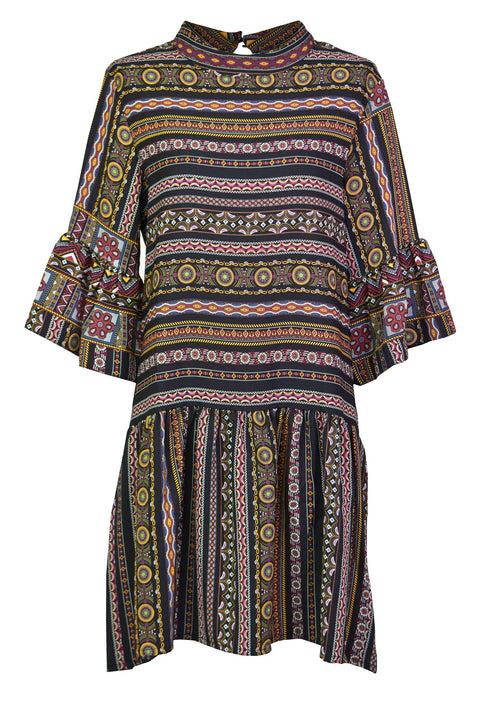 Ruffled Pattern-print loose dress
