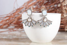 Cubic fan shaped earrings