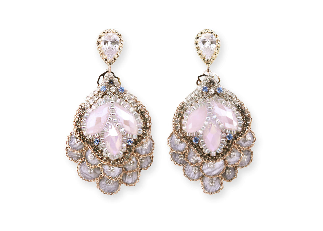 Vintage style rosy marquise drop earrings