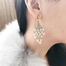Ivory glamour chandelier drop earrings