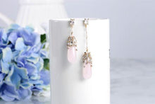 Rosy tear quartz drop earrings