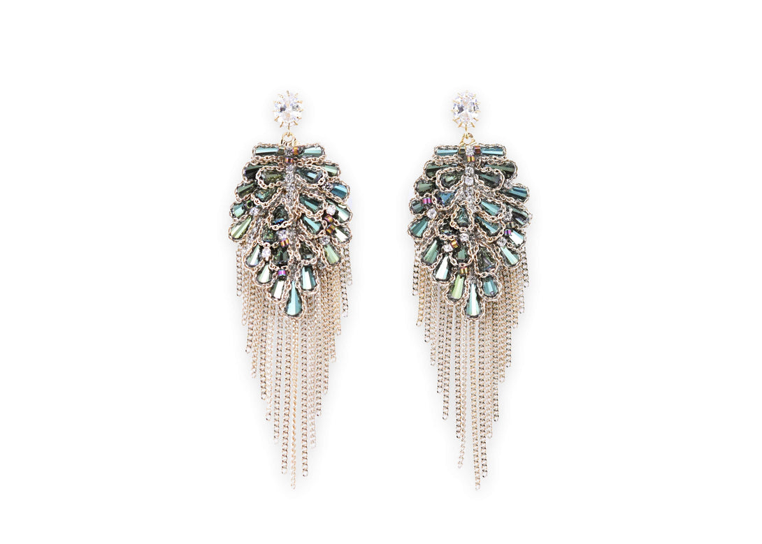 Emerald tassel earrings