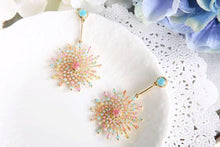 Glittering sunflower bead earrings
