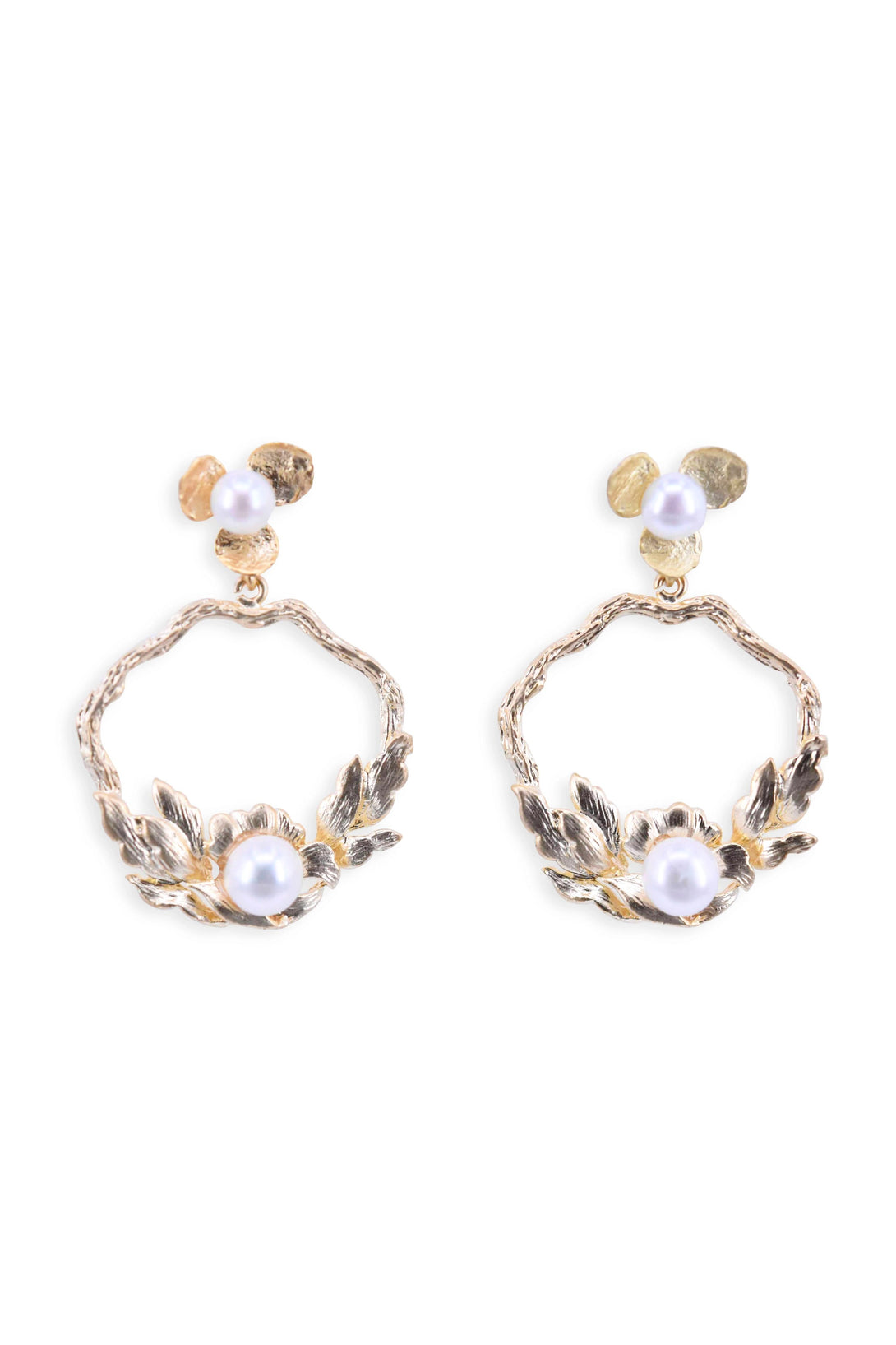 Golden leaves pearl decorated earrings