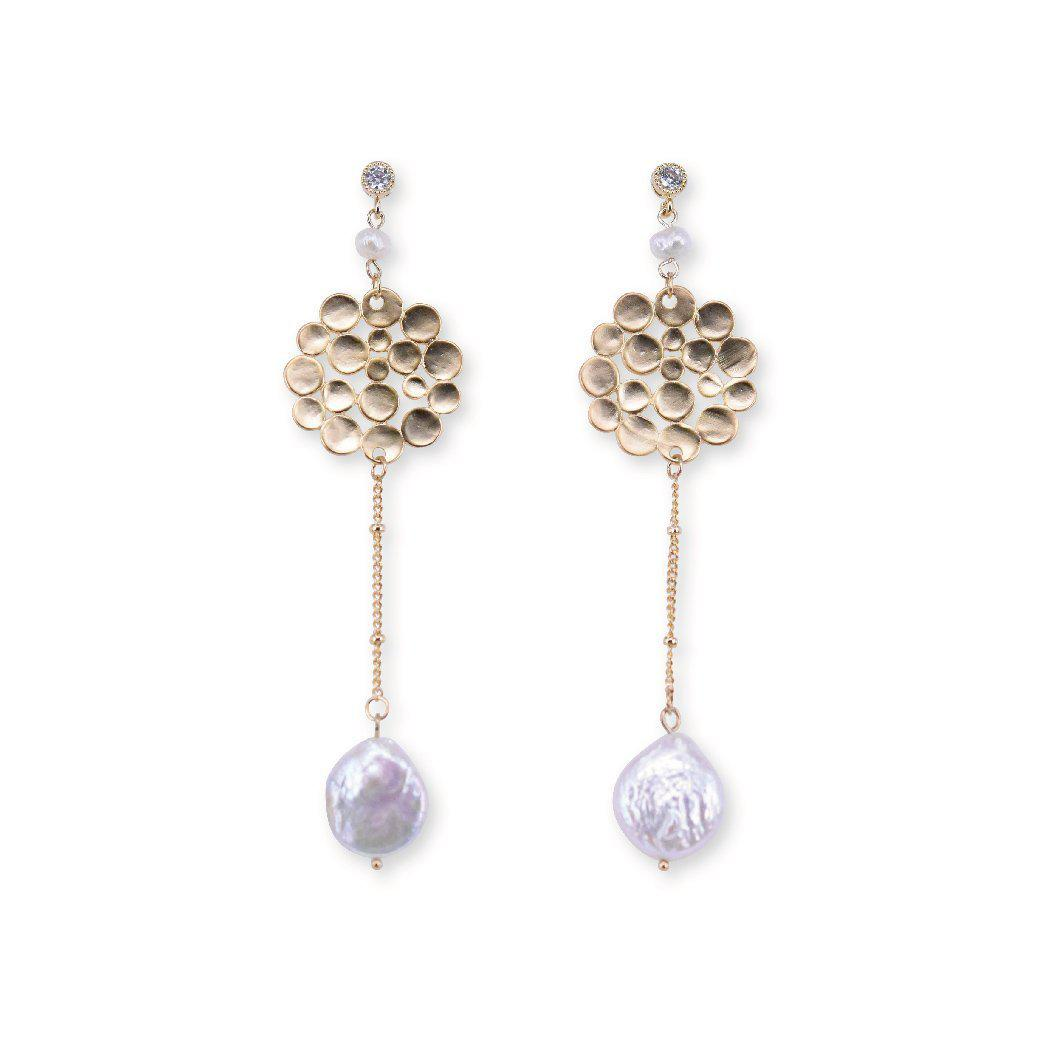 Indian style pearl drop earrings