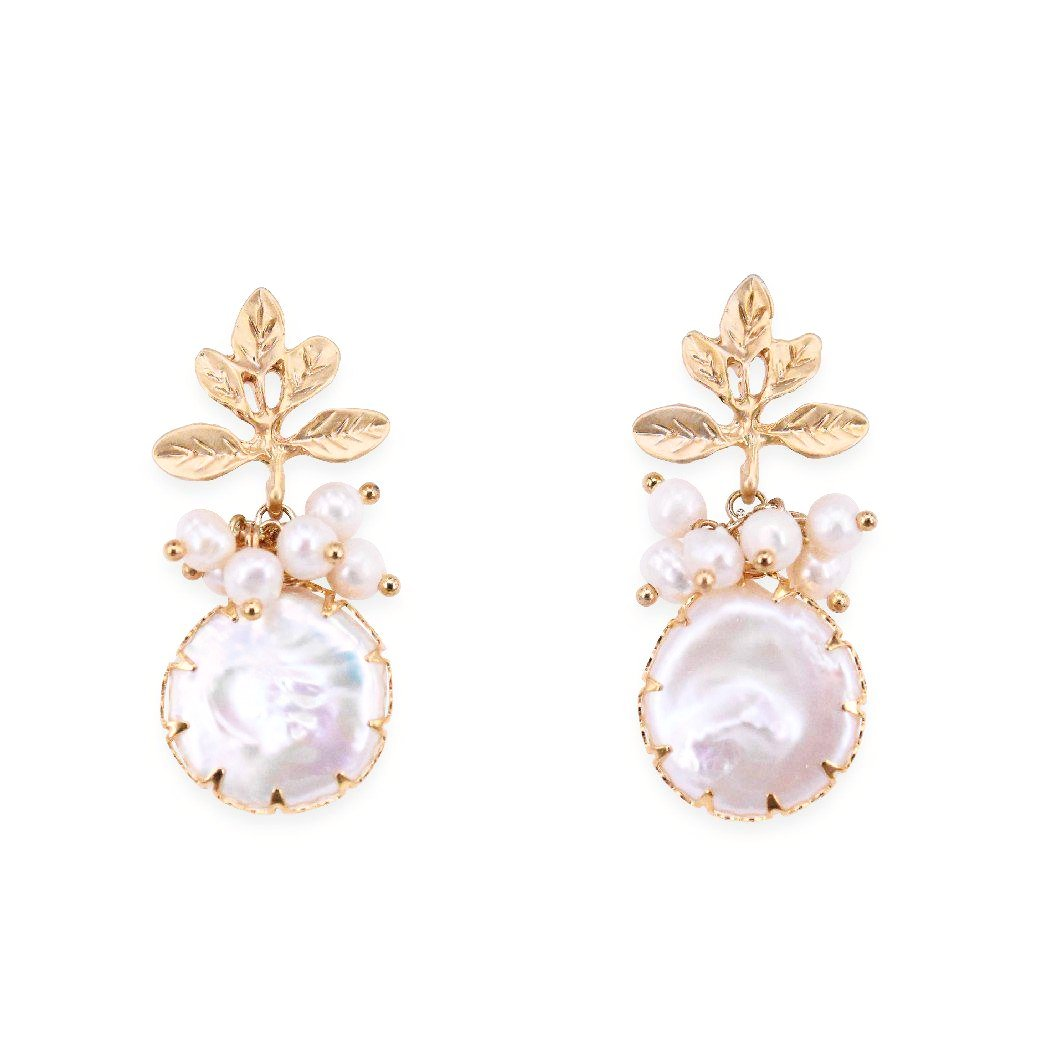 Golden leaves pearl studs