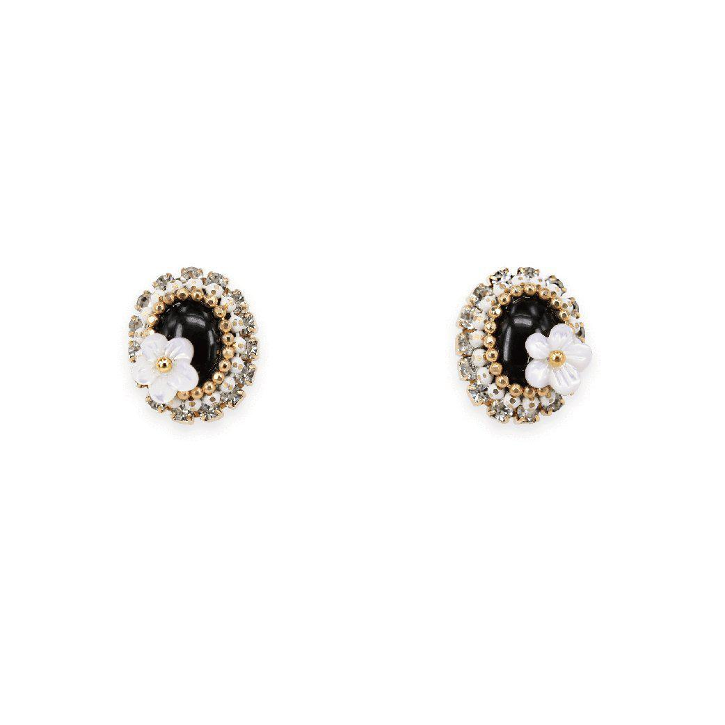 Round jet jem studs with floral pearl