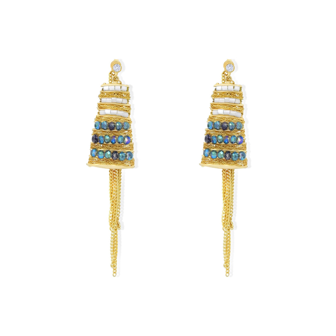 Zircon paved golden tassel drops