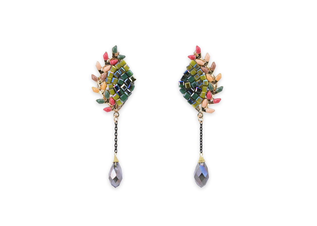 peacock maze statement earrings