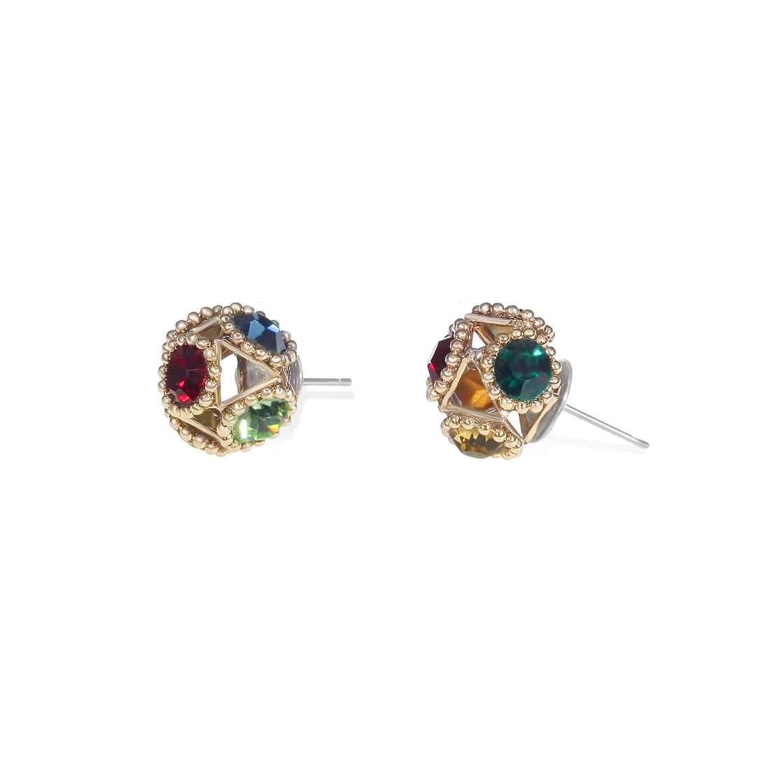 Vintage style round crystal studs