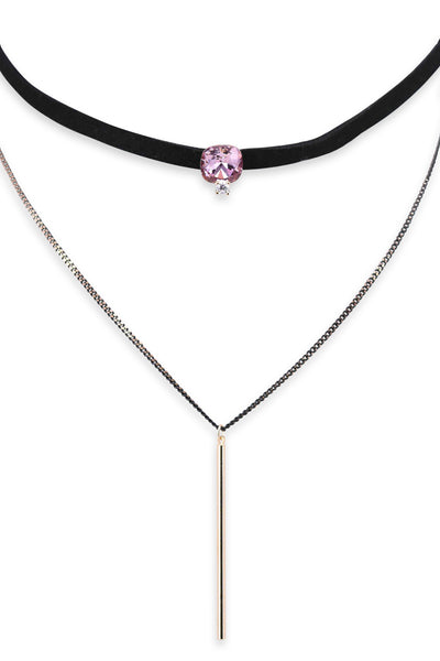 Fuchsia Choker Y-Necklace