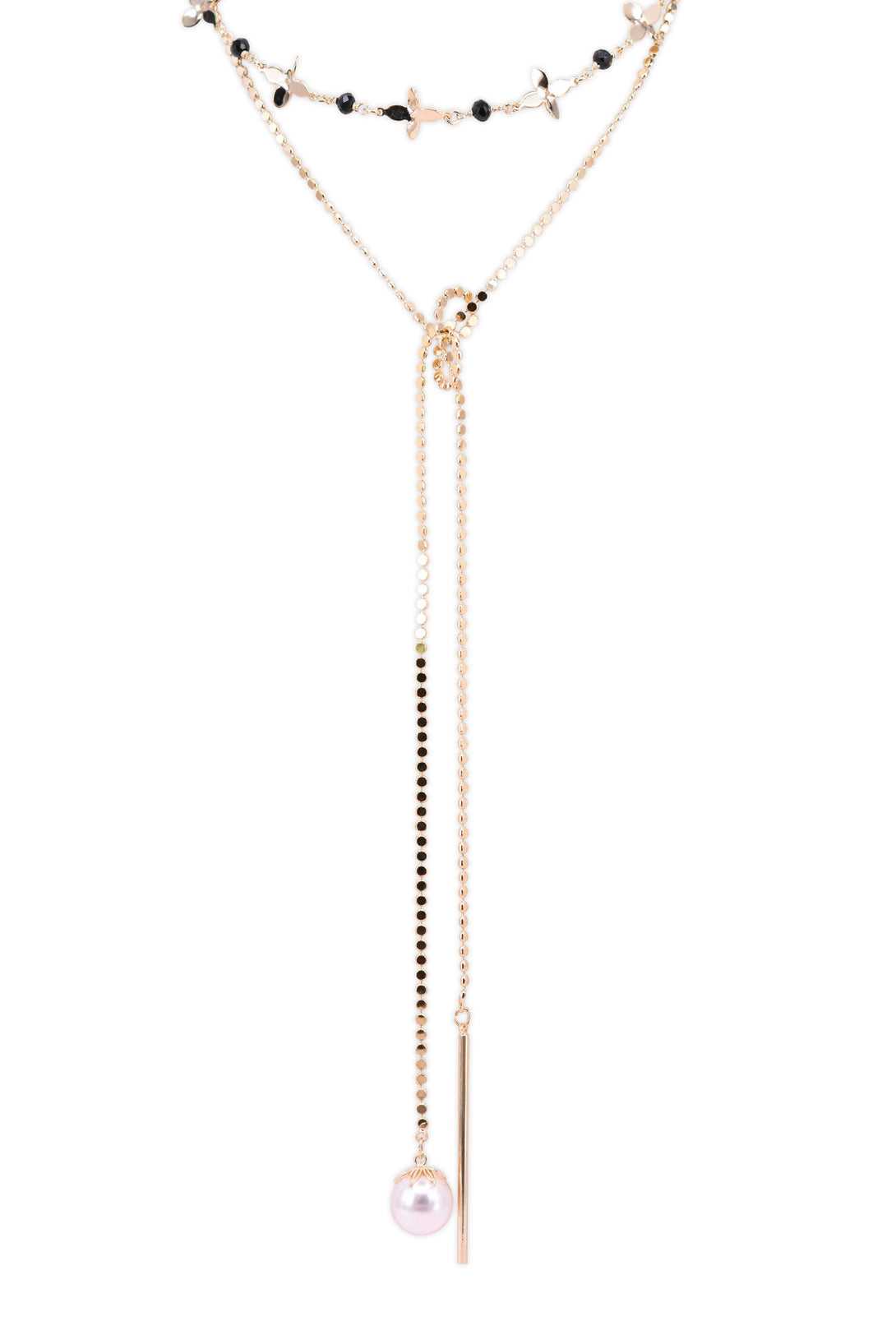 Asymmetrical Y shape pearl necklace