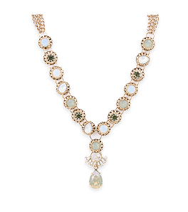Cubic zirconia gold plate necklace
