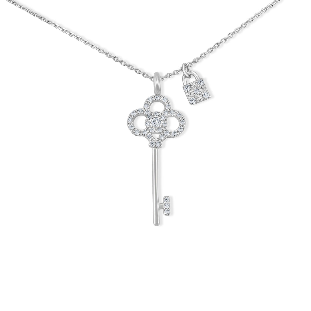 Silver Key Lock Necklace