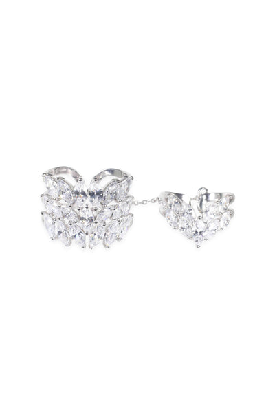 Aquarius crystal two piece ring set