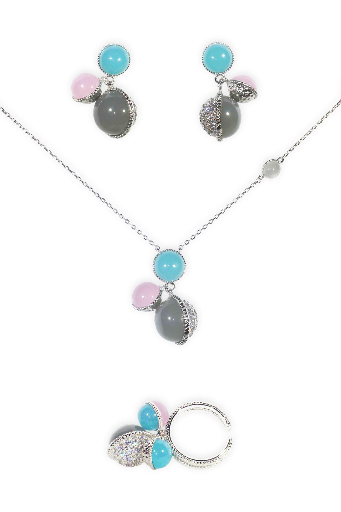 Fun Set Pink, Tiffany Blue and Black Pearl Studs in Silver Plating (Earrings, Necklace, Ring)