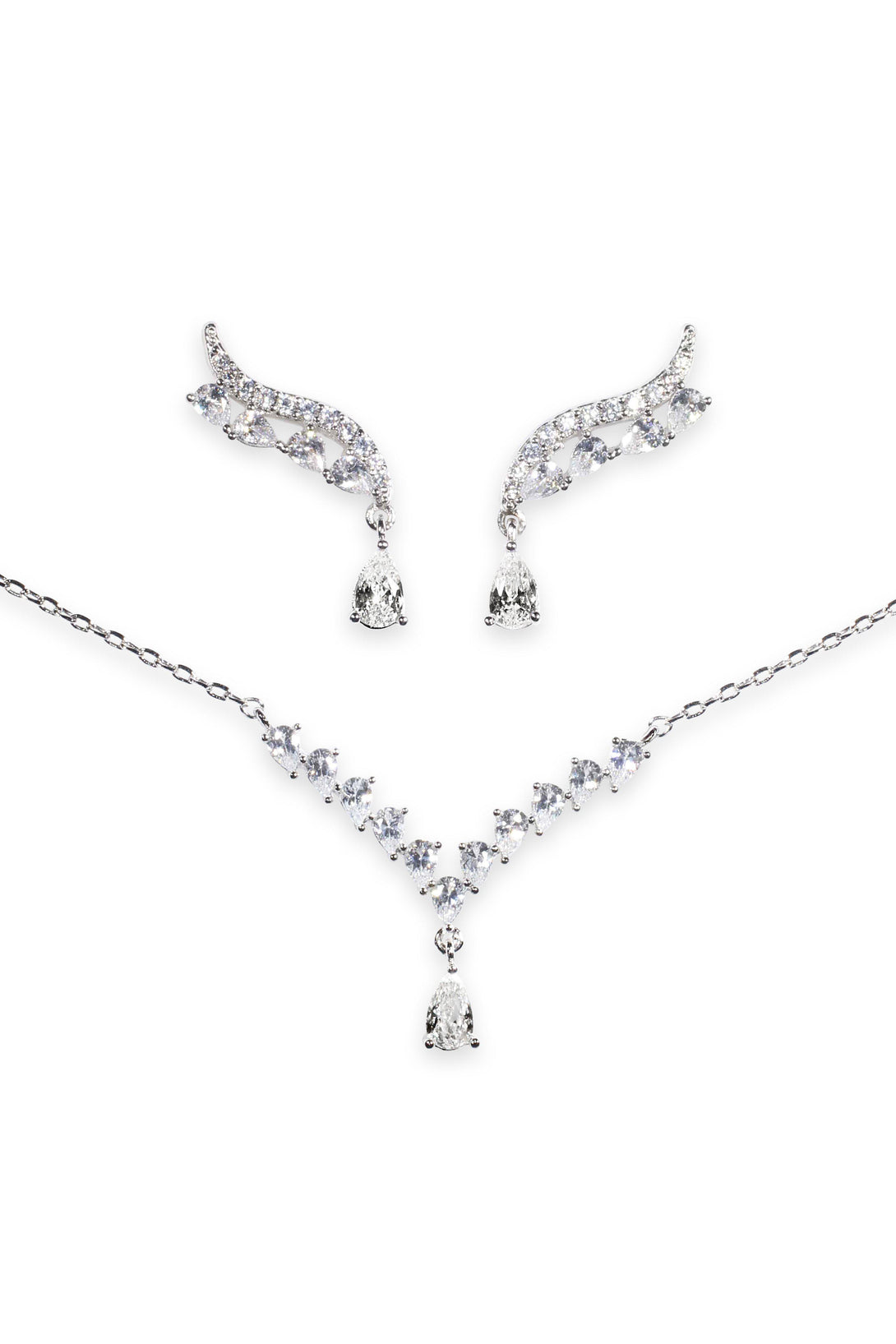 Glamour Set Designer Collection Crystal Drops in Sterling Silver (Earrings, Necklace)