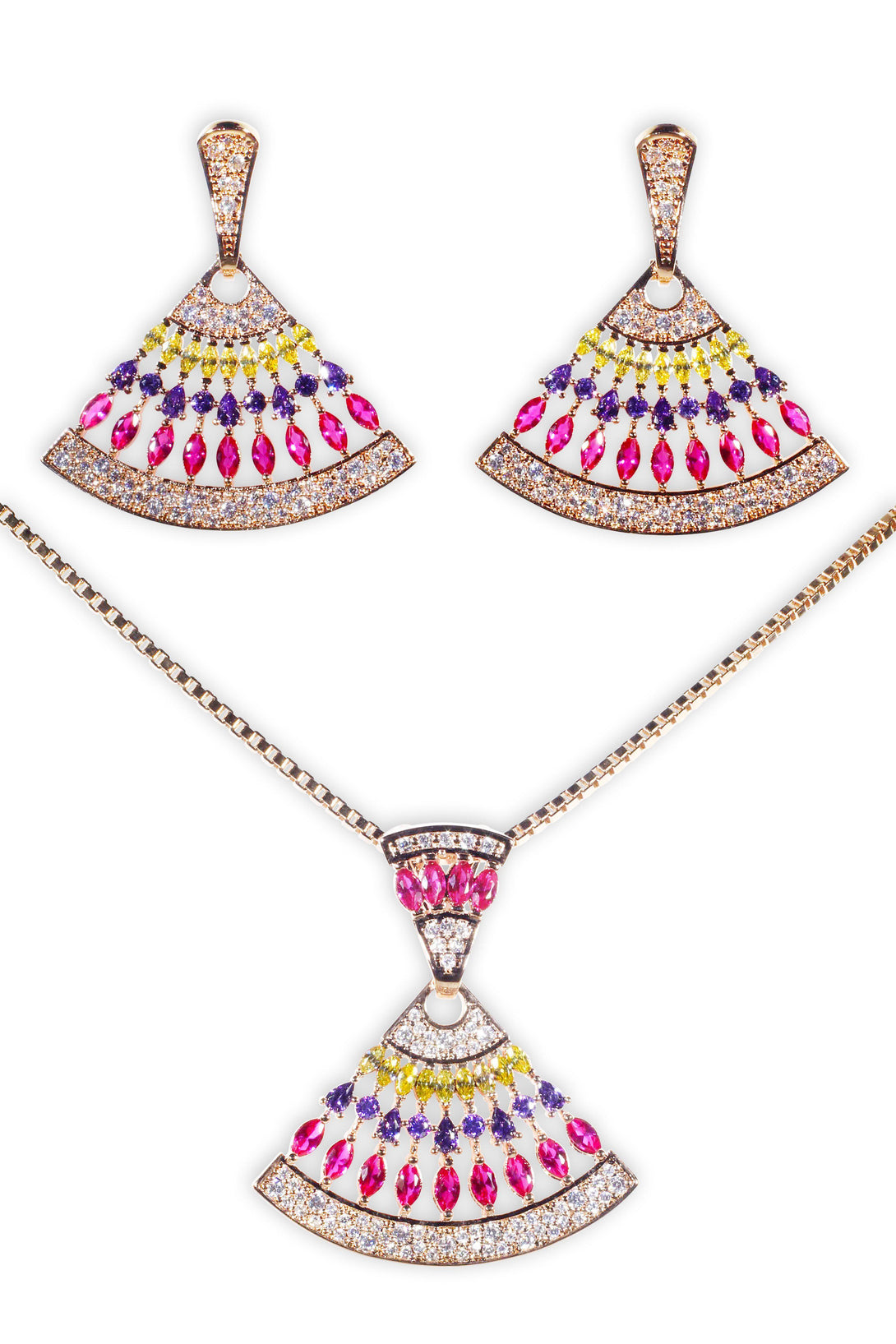 Sparkle Set Yellow, Purple and Fuchsia Crystal Drops in Gold Plating (Earrings, Necklace)