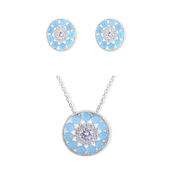 Cuteness Set Blue Crystal Studs in Sterling Silver (Earrings, Necklace)