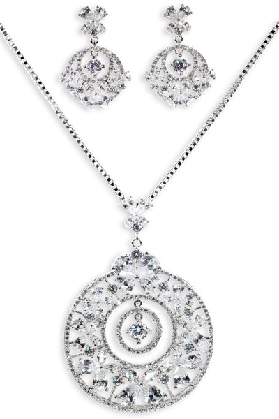 Noble Set Classic Flower Statement with Crystal in Sterling Silver (Earrings, Necklace)