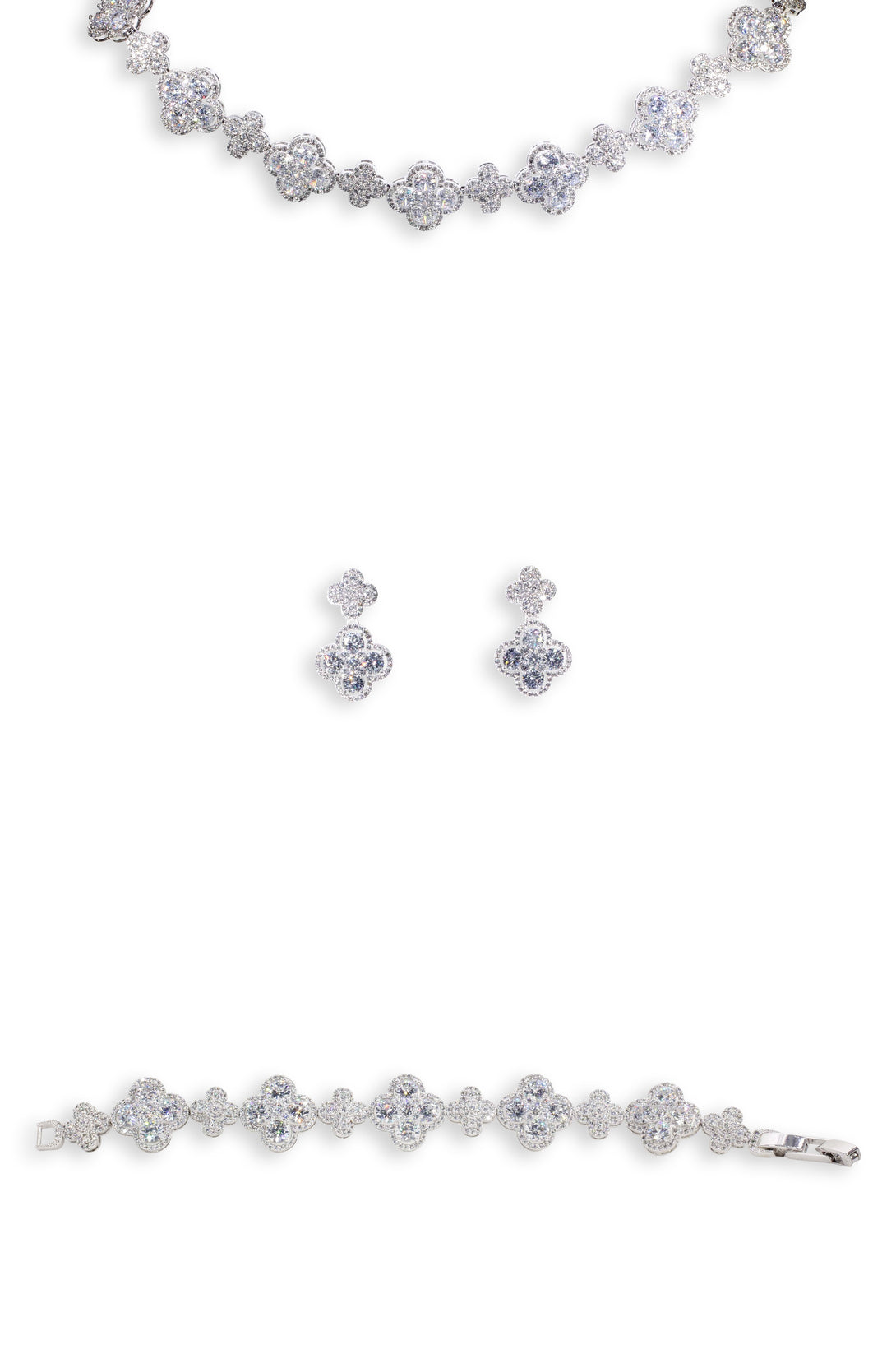 Cuteness Set Flower Statement Crystal Drops in Sterling Silver (Earring, Necklace, Bracelet)