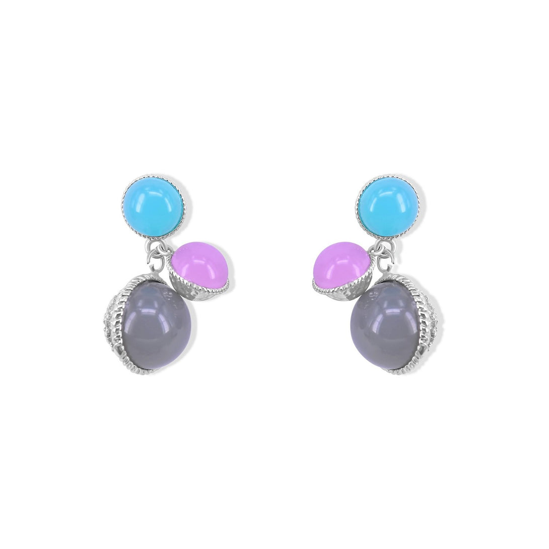 Fun Set Pink, Tiffany Blue and Black Pearl Studs in Silver Plating Earrings