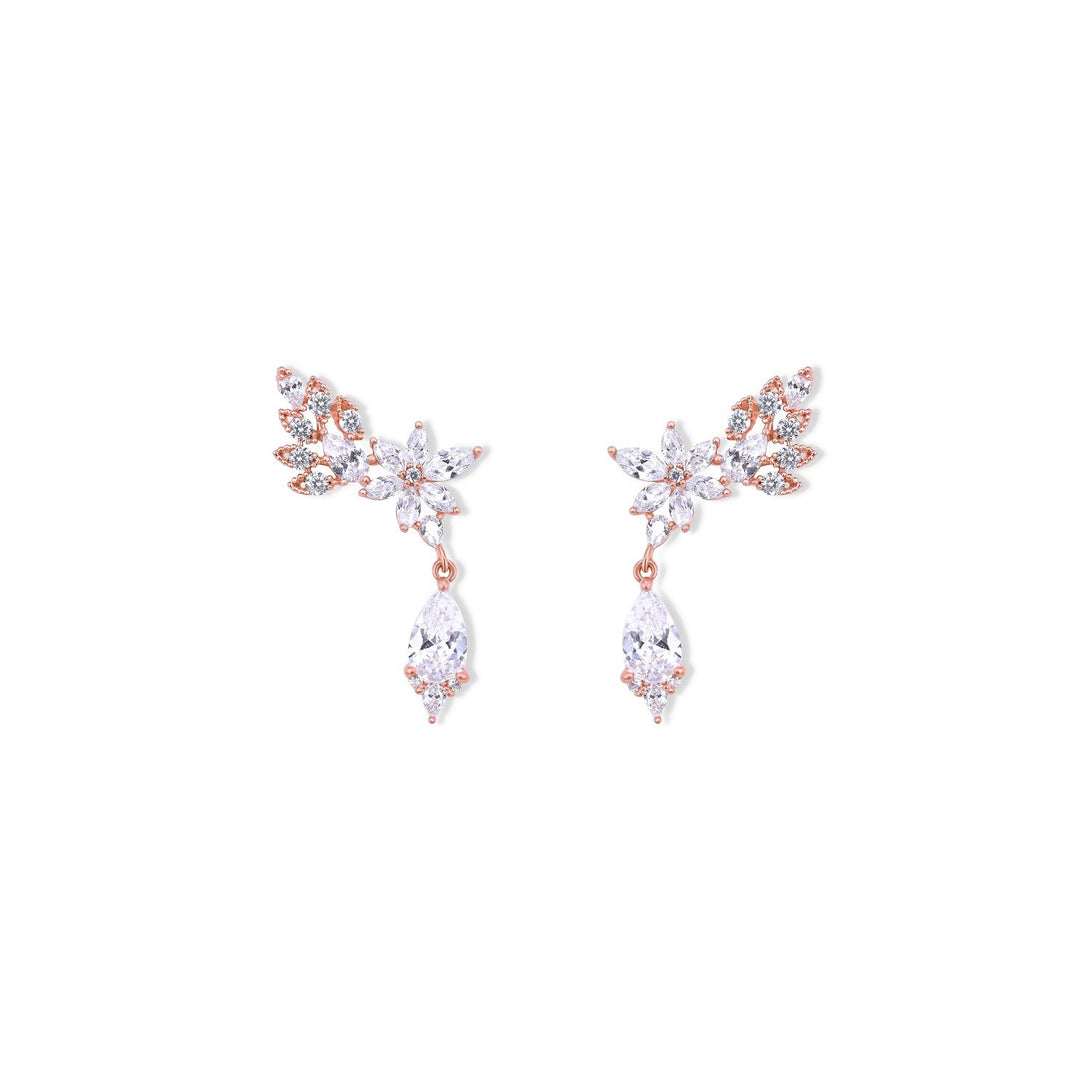 Elegance Set Flower Statement Crystal Drops in Gold Plating Earrings