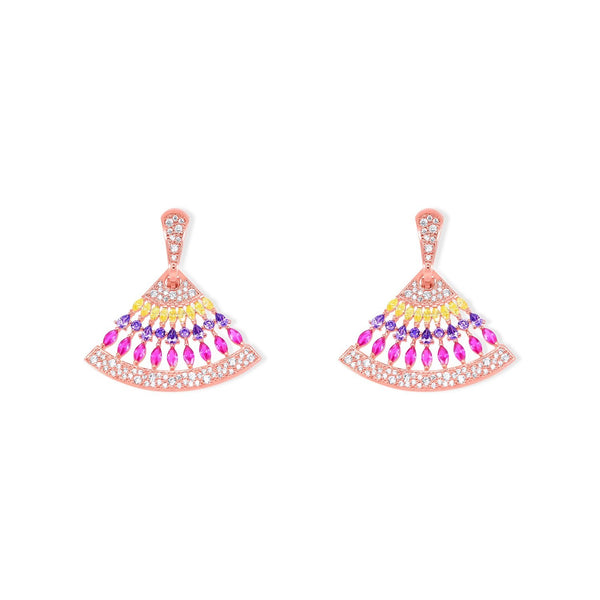 Sparkle Set Yellow, Purple and Fuchsia Crystal Drops in Gold Plating Earrings