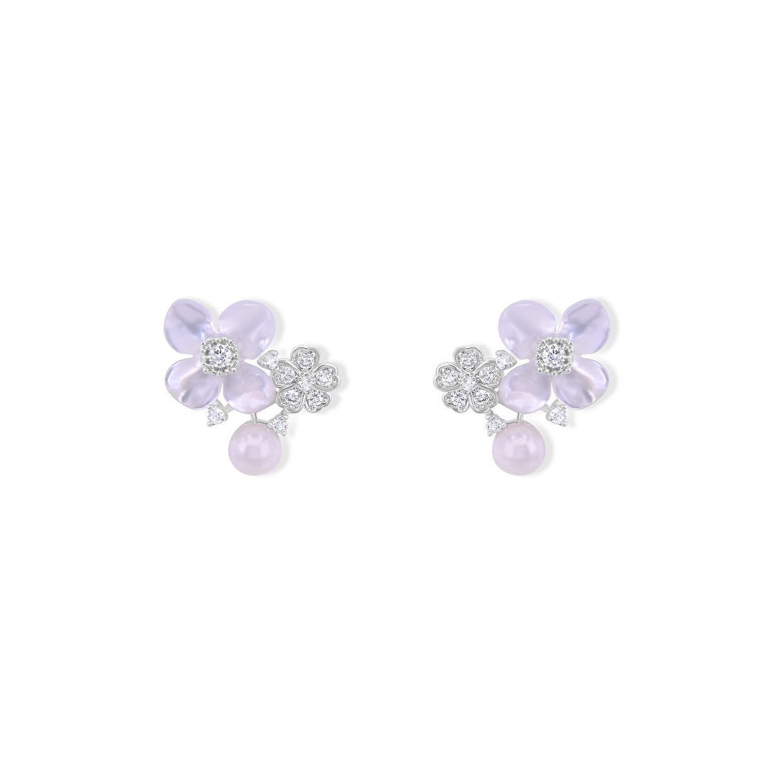 Cuteness Set Flower Statement with Pearl in Sterling Silver Earrings