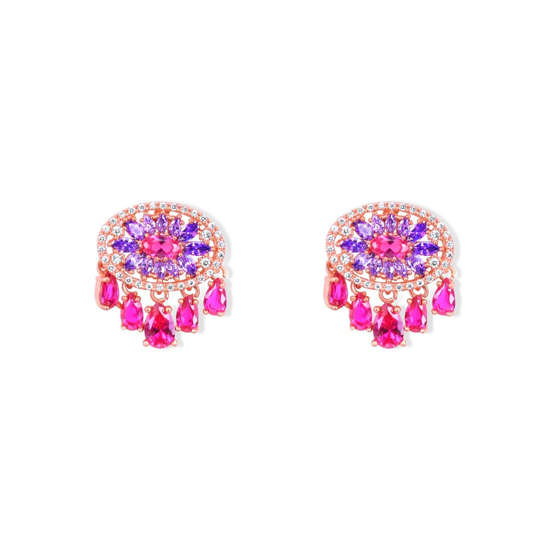 Sparkle Set Enhanced Fuchsia and Purple Crystal Abstract in Gold Plating Earrings