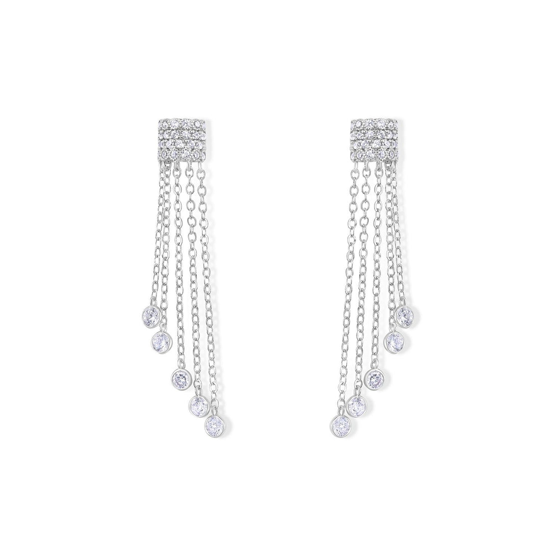 Glamour Set Waterfall Style Drops in Sterling Silver Earrings