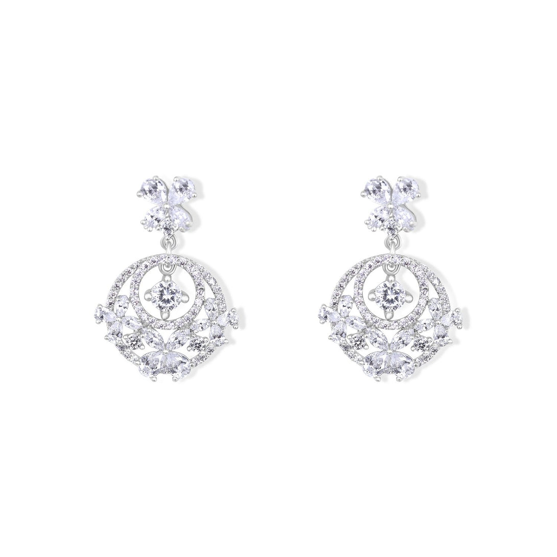 Noble Set Classic Flower Statement with Crystal in Sterling Silver Earrings
