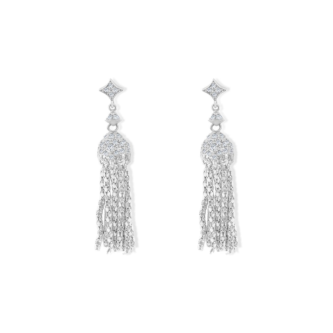 Glamour Set Luxurious Tassel Drops in Sterling Silver Earrings