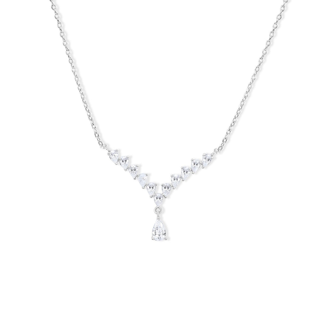 Glamour Set Designer Collection Crystal Drops in Sterling Silver Necklace