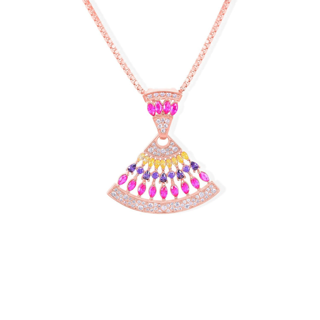 Sparkle Set Yellow, Purple and Fuchsia Crystal Drops in Gold Plating Necklace