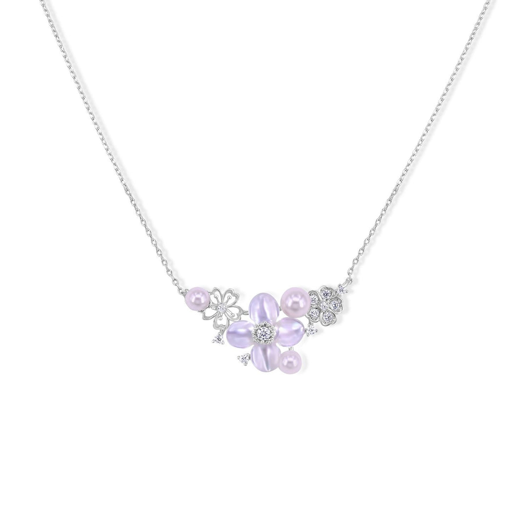 Cuteness Set Flower Statement with Pearl in Sterling Silver Necklace
