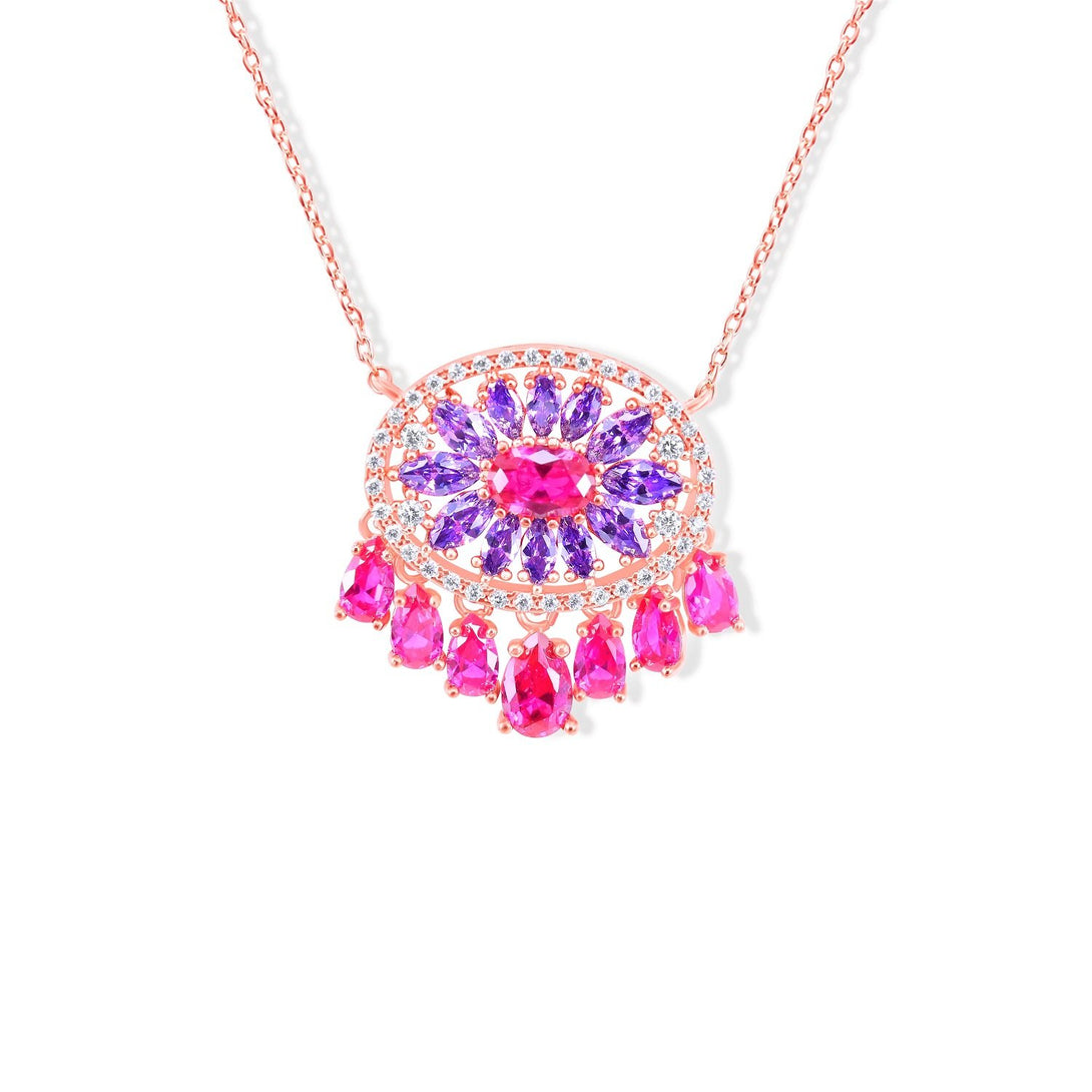 Sparkle Set Enhanced Fuchsia and Purple Crystal Abstract in Gold Plating Necklace