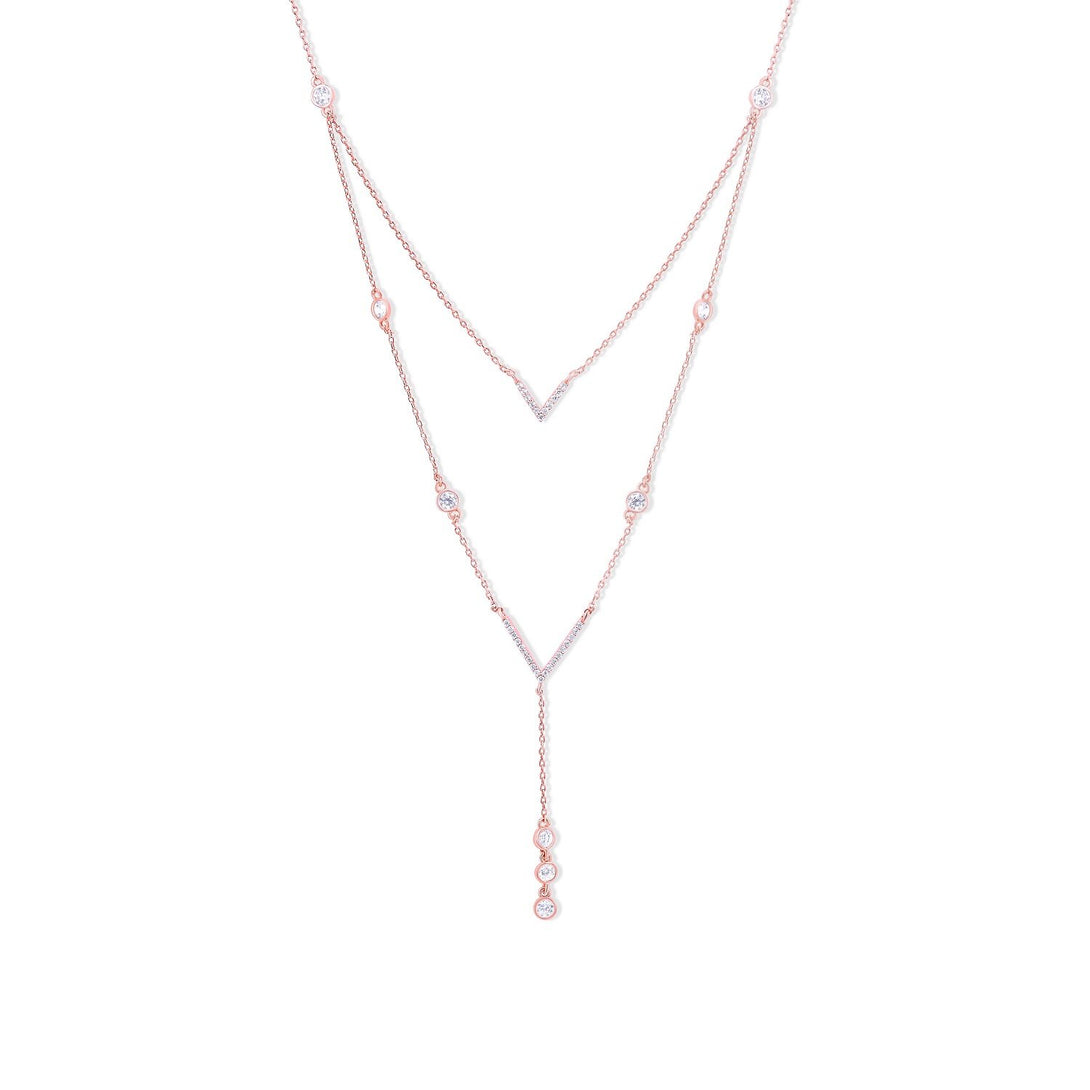 Noble Set Circle-Chained Drops in Gold Plating Necklace
