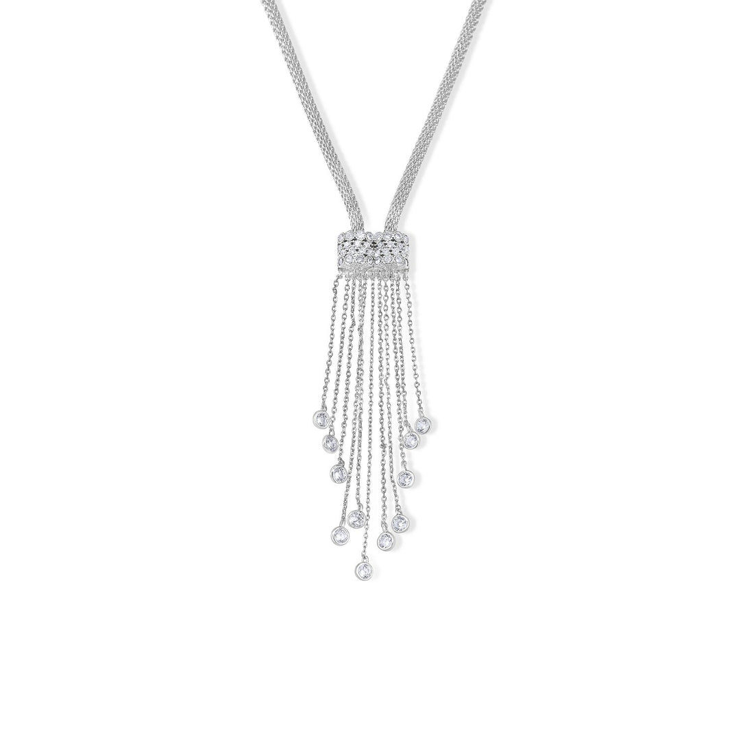 Glamour Set Waterfall Style Drops in Sterling Silver Necklace
