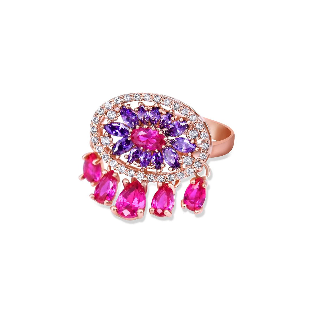 Sparkle Set Enhanced Fuchsia and Purple Crystal Abstract in Gold Plating Ring