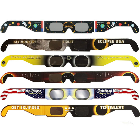 Solar Eclipse Glasses CE and ISO Certified - Safe Solar Viewing - Viewer and Filter - Made in USA - Astronaut (6 Pack)
