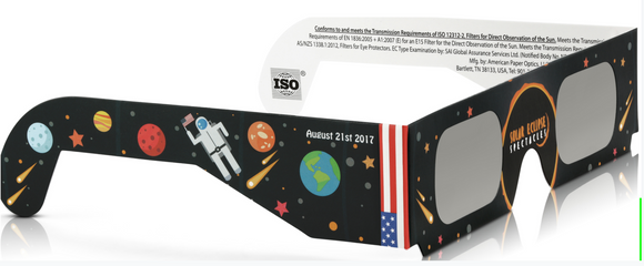 Solar Eclipse Glasses CE and ISO Certified - Safe Solar Viewing - Viewer and Filter - Made in USA - Astronaut (3 Random)