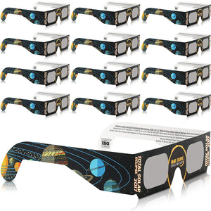 Solar Eclipse Glasses - CE and ISO Certified Safe Shades for Direct Sun Viewing - Viewer & Filter - Made in USA (12 Pack) - Jupiter