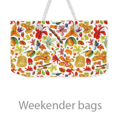 weekender bag with parrot designs